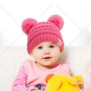 C.C Baby Beanie Hat with Double Pom Poms in Pink